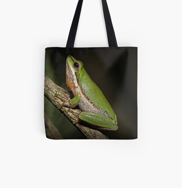 Frog on Branch All Over Print Tote Bag