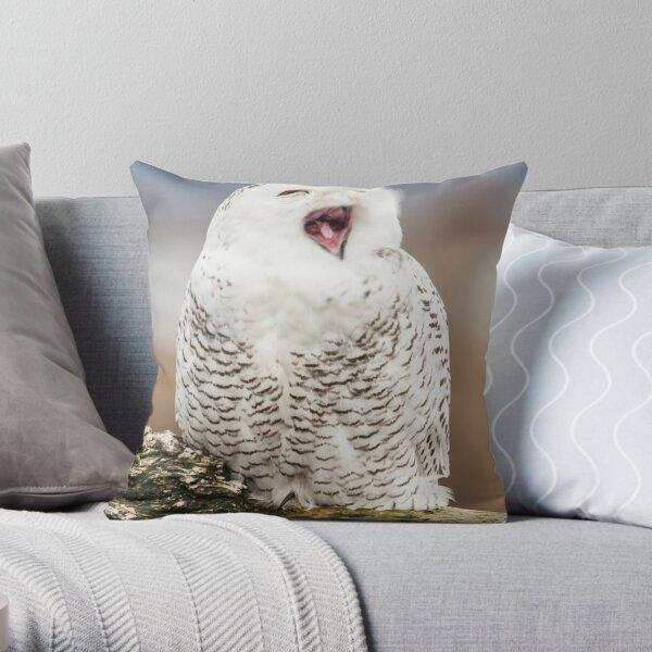 Snowy Owl Yawning Throw Pillow