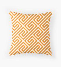 Orange Greek Keys Geometric Pattern Throw Pillow