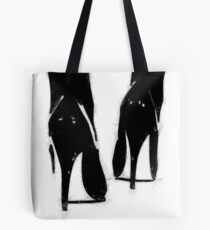 A Highly Erotic Drawing of Fashionable High Heel Shoes from Behind Tote Bag