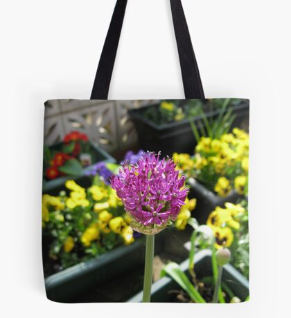 Beauty Unfolding - Allium and Pansies  Tote Bag