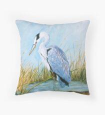 Cojín Blue Heron - Acrylic Painting on Canvas