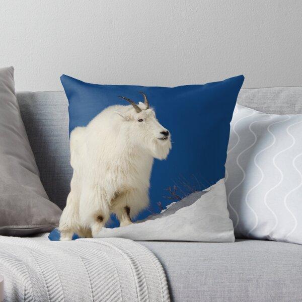 Mountain Goat On Blue Throw Pillow