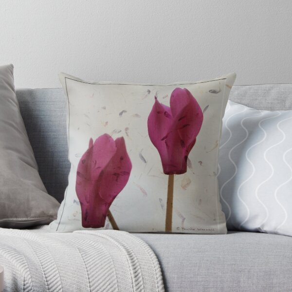 The beauty of cyclamen flowers Throw Pillow