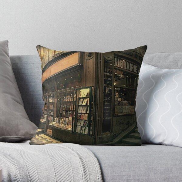 Paris Bookshop Throw Pillow