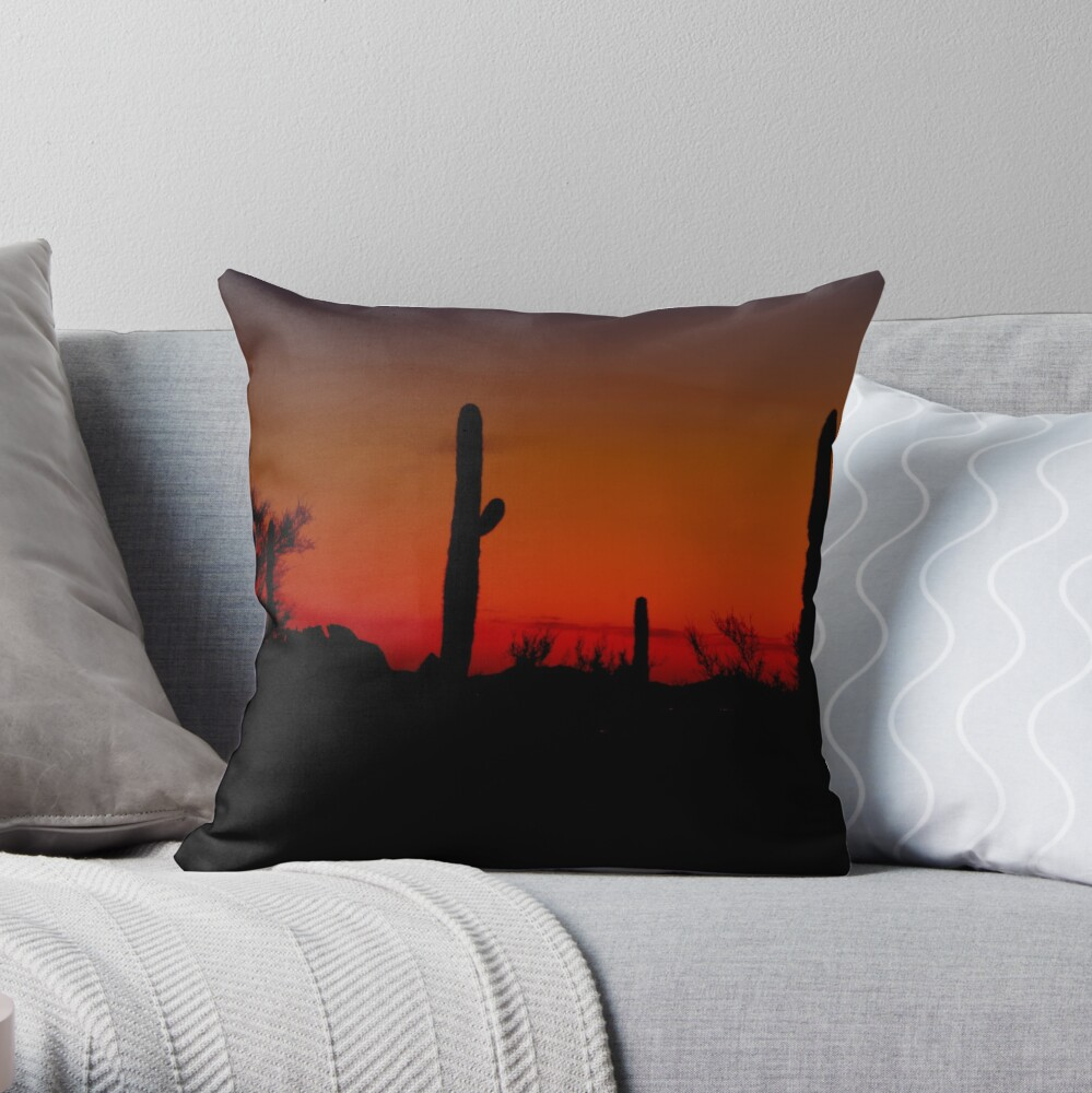 Cacti in the Red Throw Pillow