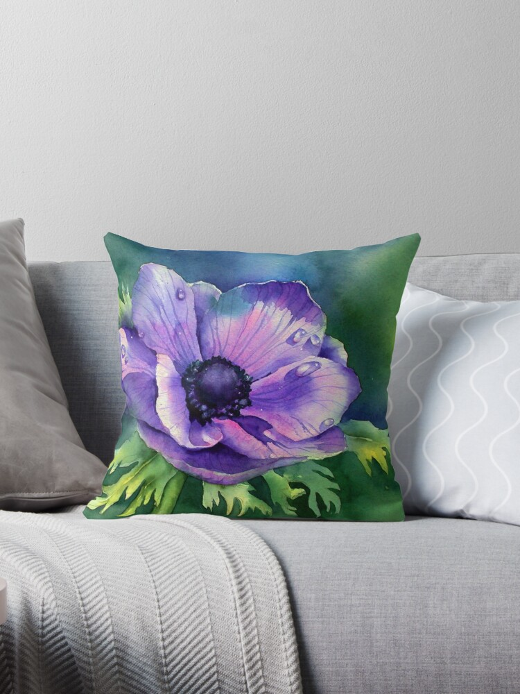 Purple Anemone Throw Pillow By Annmortimerart Redbubble