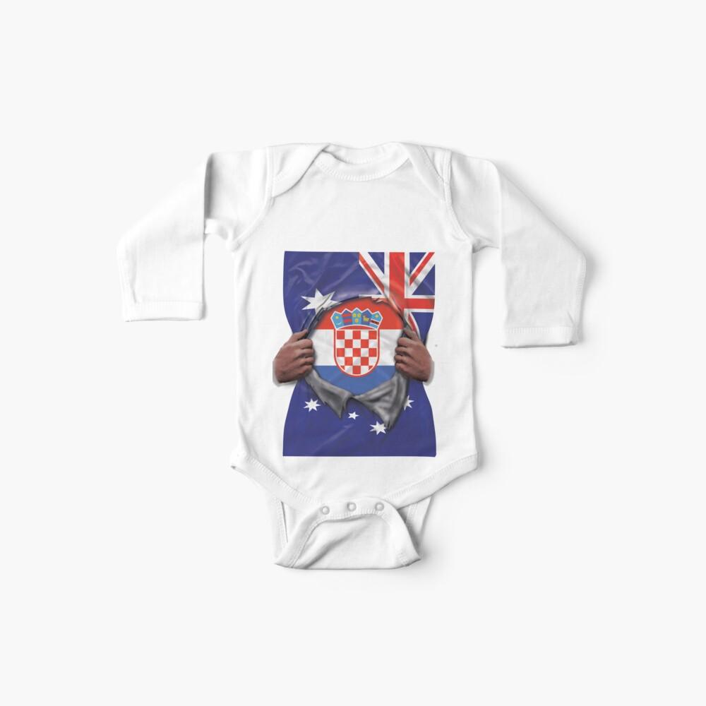 Croatia Flag Australian Flag Ripped Open - Gift For Croatian From Croatia Baby Body