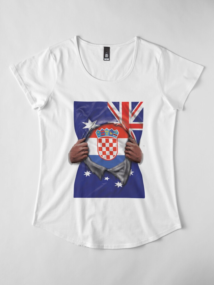 Alternative Ansicht von  Croatia Flag Australian Flag Ripped Open - Gift For Croatian From Croatia Premium Rundhals-Shirt
