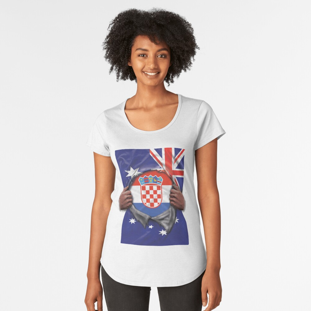 Croatia Flag Australian Flag Ripped Open - Gift For Croatian From Croatia Premium Rundhals-Shirt