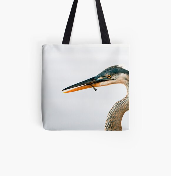 Blue Heron Portrait All Over Print Tote Bag