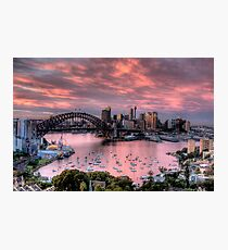 In The Pink - Sydney Harbour - The HDR Experience Photographic Print