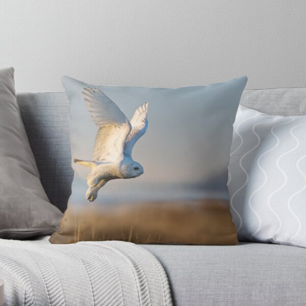 A Snowy Owl Takes an Early Morning Flight Throw Pillow