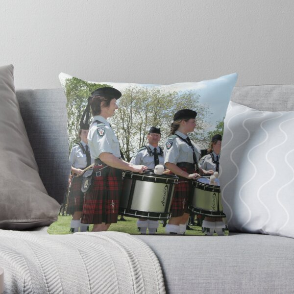 Pipe Band Drummers Throw Pillow