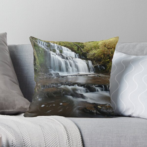 Purakaunui Falls Throw Pillow