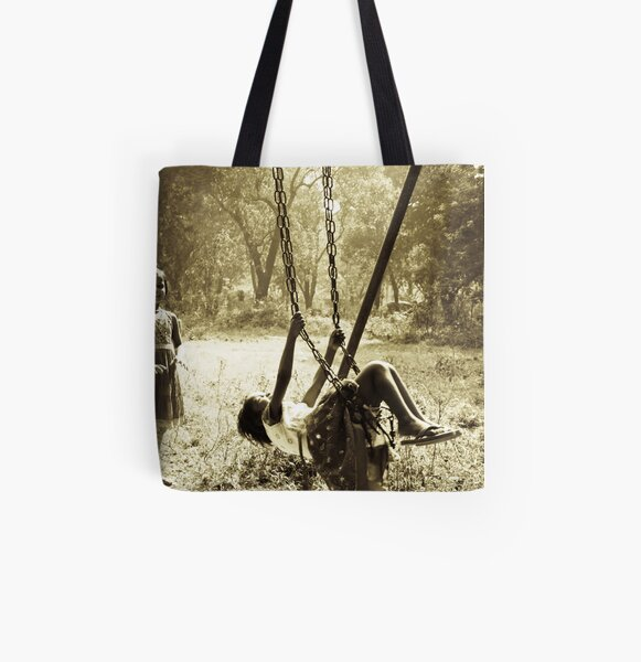 Girls on swing All Over Print Tote Bag