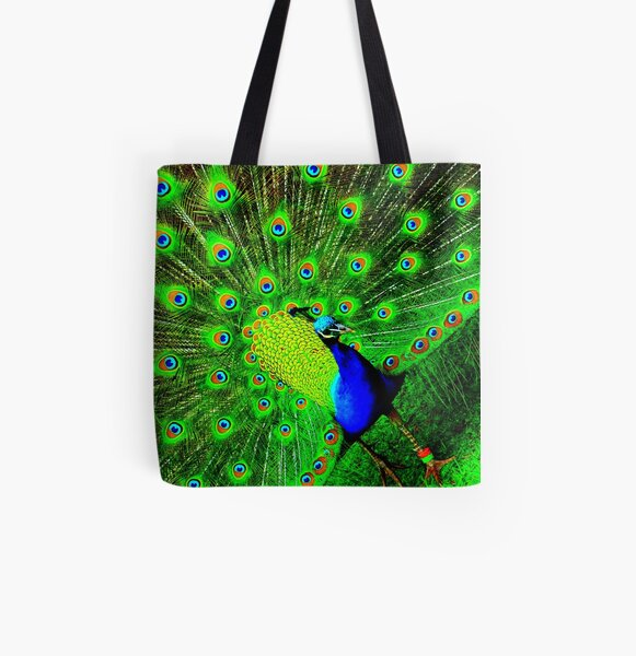 Peacock All Over Print Tote Bag