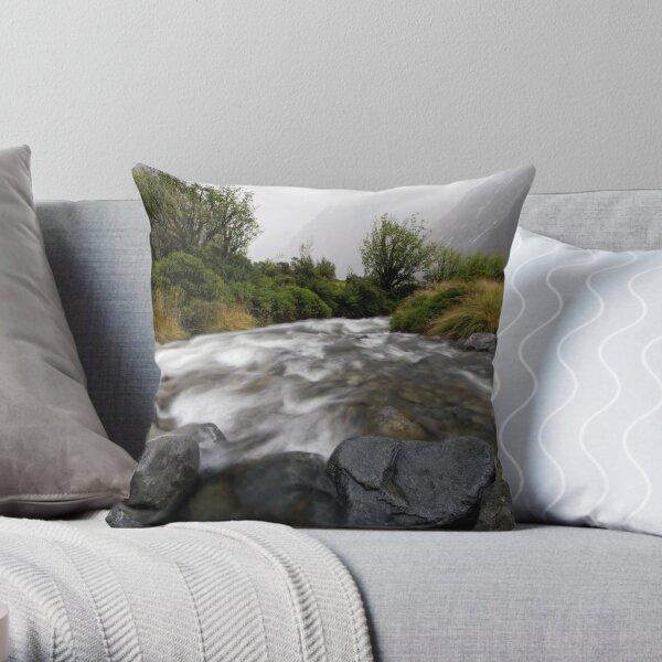 Monkey Creek, Fiordland Throw Pillow