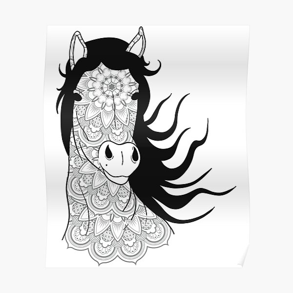 Mandala horse head in the wind - gift idea Poster