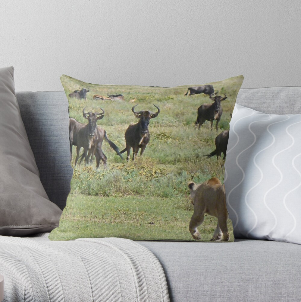Wildebeast for lunch Throw Pillow