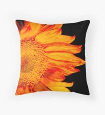 Fiery Orange Sunflower Throw Pillow