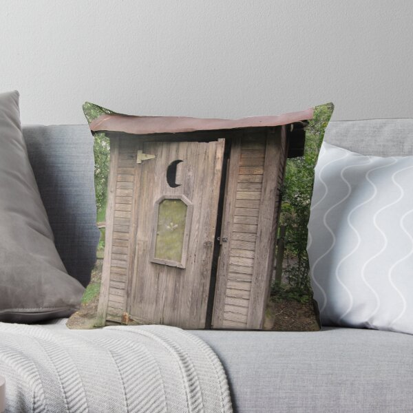 Old Antique Country Outhouse Bathroom  Throw Pillow