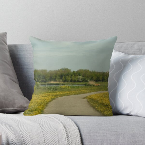 Buttercups trail Throw Pillow