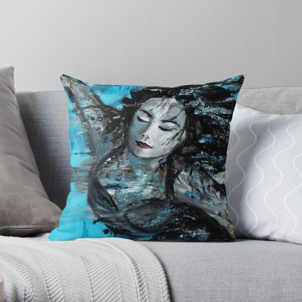 The Swimmer - painted Throw Pillow