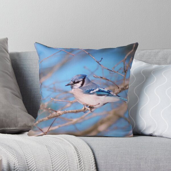 Blue Skies And Bluejays Throw Pillow