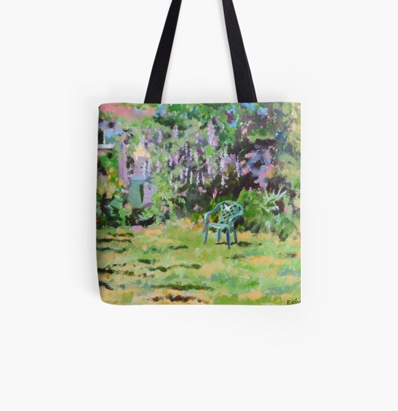 Garden in Summer, Acrylics on Canvas Board All Over Print Tote Bag