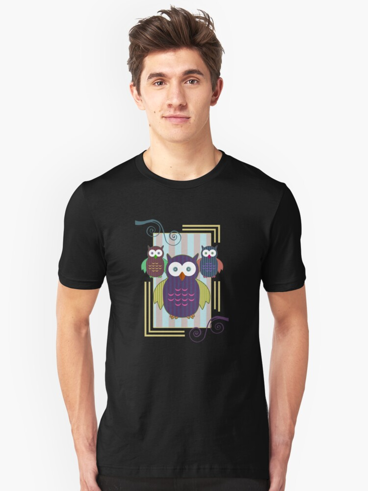 Striped Owls 2 Unisex T-Shirt Front