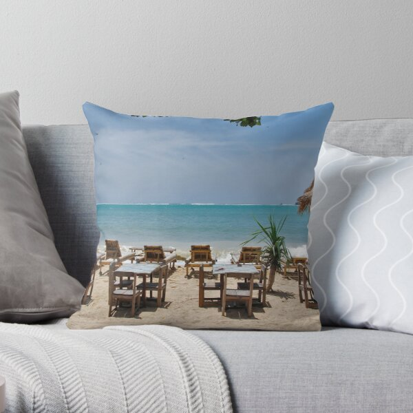 Sun, sea, beach.....  Throw Pillow