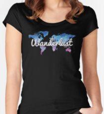 Wanderlust World Map Women's Fitted Scoop T-Shirt
