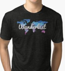 Wanderlust World Map Tri-blend T-Shirt