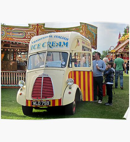 Old Ice-Cream Van: Steam Fair, Dulwich London. Poster