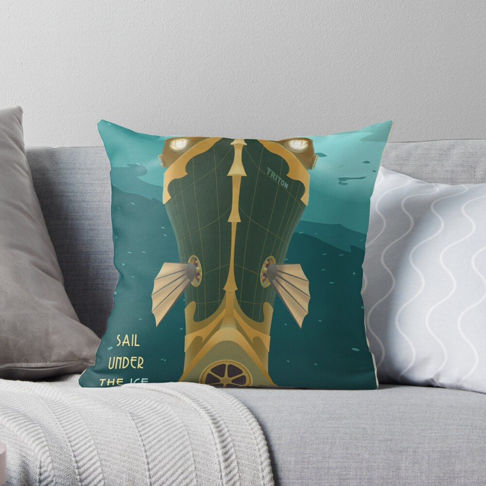 Neptune Travel Poster Throw Pillow