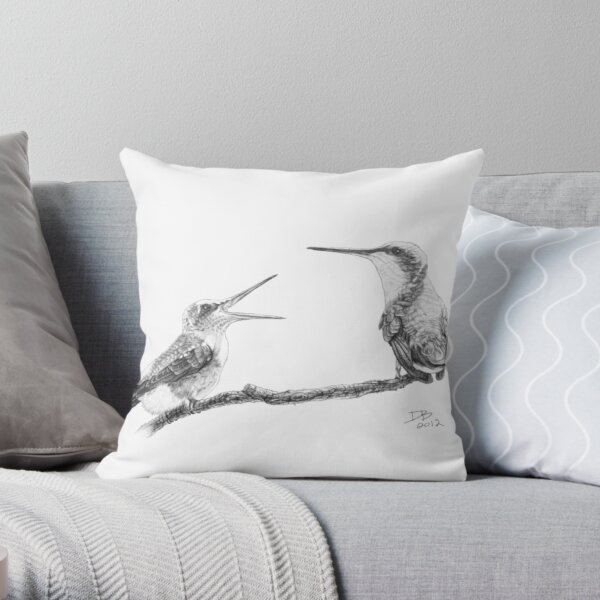 Ruby-Throated Hummingbird: Mother and Chick, 2012, Pencil Throw Pillow