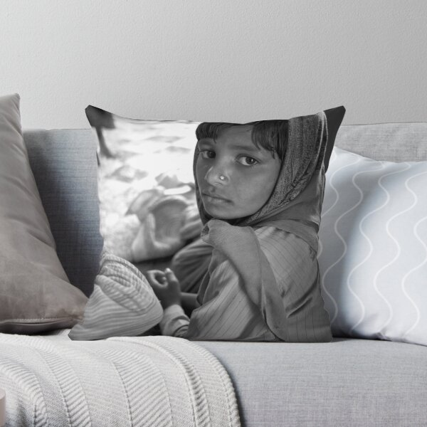 the heart of rural rajasthan Throw Pillow