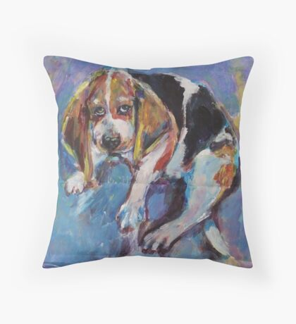 Bashful beagle Throw Pillow