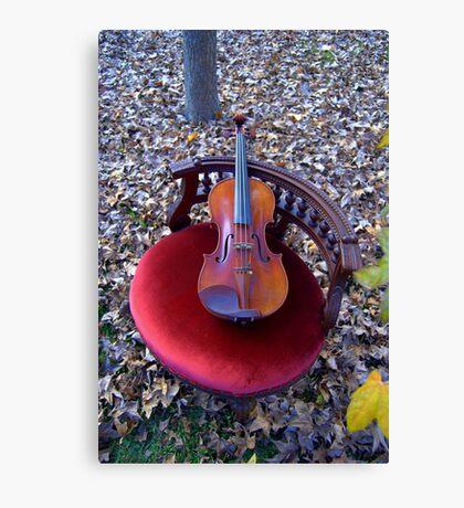 violino su sedia di velluto rosso © 2010 patricia vannucci  Canvas Print