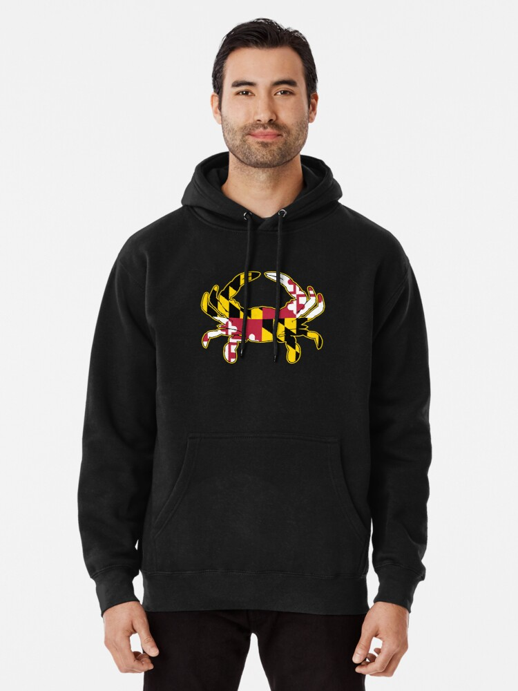 Alternate view of Maryland Flag Crab Illustration Pullover Hoodie