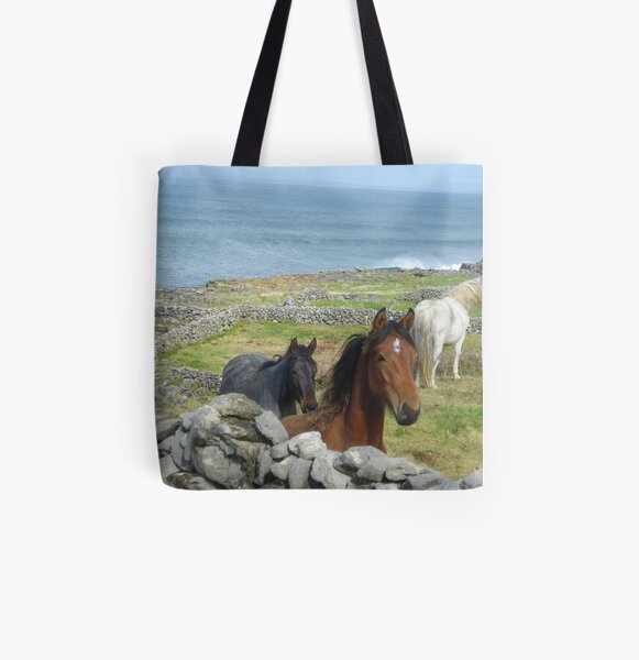 Horses on Inis Mor All Over Print Tote Bag