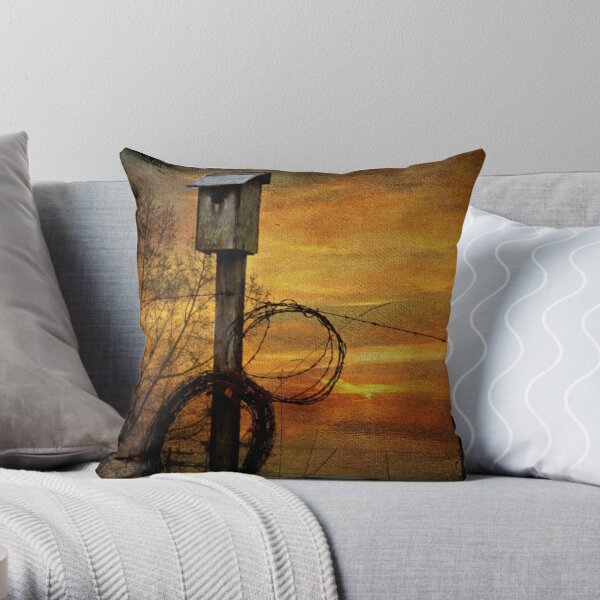 Blue Bird House and Barbed Wire Throw Pillow