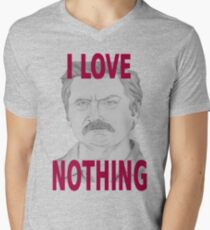 Ron Swanson Pencil Portrait Mens V-Neck T-Shirt