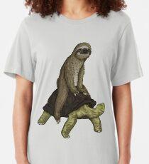 Sloth Turtle Shirt Speed is Relative Sloth Riding Tortoise Slim Fit T-Shirt