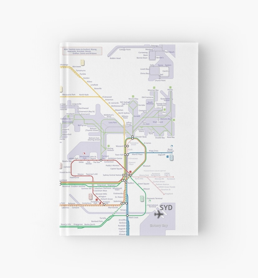 'Sydney train and ferry map' Hardcover Journal by Railmaps