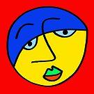 «Cara de hombre triste en el círculo sobre tablero rojo» de Istvan Ocztos