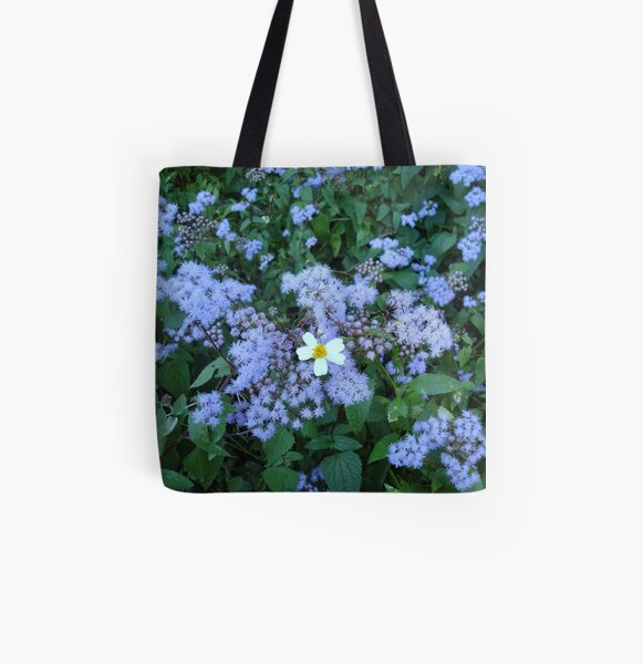 Wild Ageratum and Bidens alba (He loves me, he loves me not) All Over Print Tote Bag