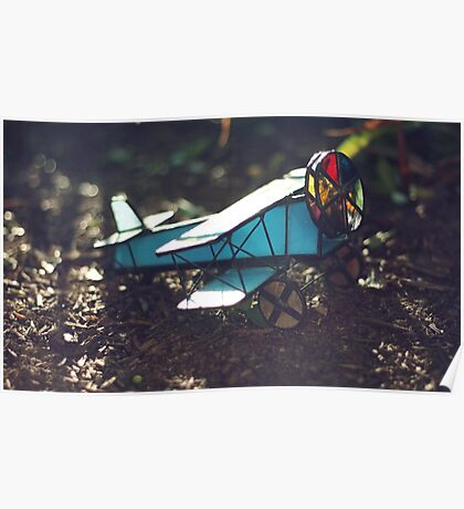 Stained Glass Airplane Kaleidoscope Poster