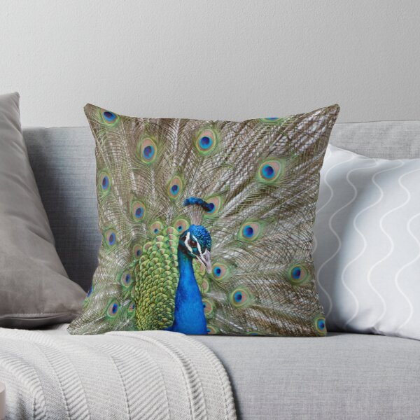 Peacock - Show Off Throw Pillow